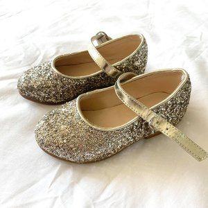 BARDOT JUNIOR girls size 8 kids gold glitter/sparkle party dress shoes ♡